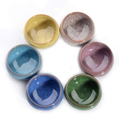 KBWL Hot Sale 6pcs Kung Fu Tea Cup Set Crackle Glaze Travel Chinese Porcelain Teacup Sets Ceramic Pottery 30ml Xmas Gift Multi Color