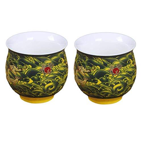 Pigeon Fleet 2 Pcs 34 oz Chinese Porcelain Teacup Kongfu Tea Cups Dragon Wine Cup