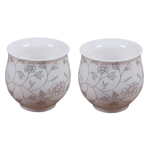 Pigeon Fleet 2 Pcs 34 oz Chinese Porcelain Teacup White Kongfu Tea Cups Gold Leaves Mugs Japanese Tea Cups