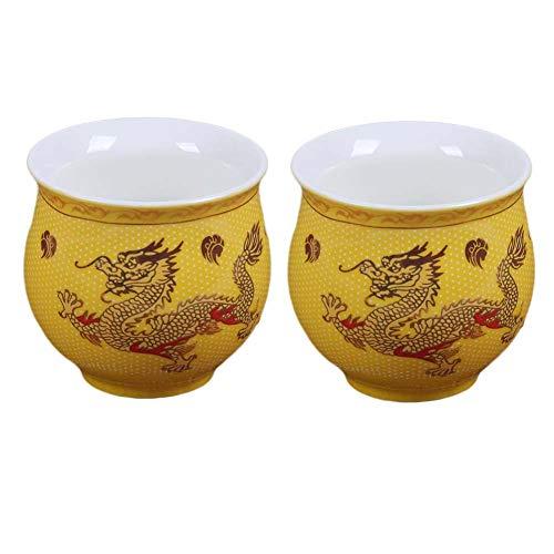Pigeon Fleet 2 Pcs 34 oz Chinese Porcelain Teacup Yellow Dragon Kongfu Tea Cups Mini Wine Cup