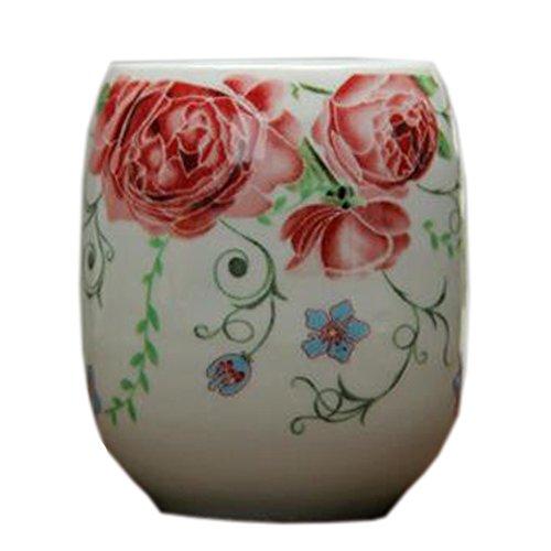 Kylin Express 2PCS Chinese Ceramic Tea Cups Household Teacup Beautiful Rose