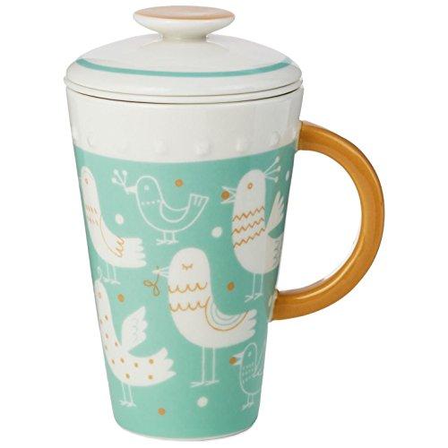 Blue Ceramic Mug With Tea Infuser and Lid 10 oz Mugs Teacups