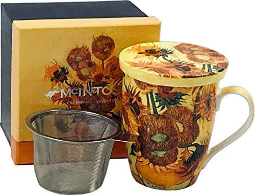 McIntosh Old Masters Vincent van Gogh Sunflowers Fine China Tea Mug with Infuser and Lid MC020089