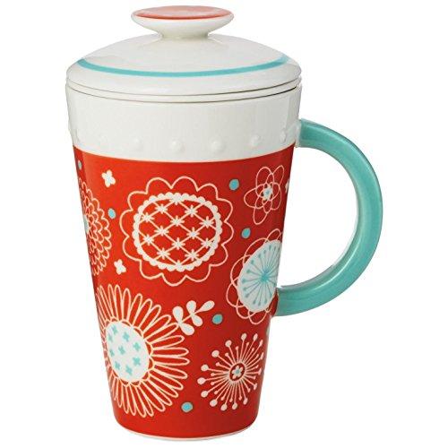 Orange Ceramic Mug With Tea Infuser and Lid 10 oz Mugs Teacups
