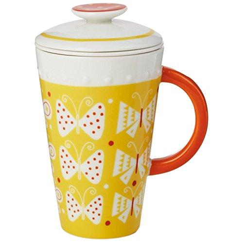 Yellow Ceramic Mug With Tea Infuser and Lid 10 oz Mugs Teacups