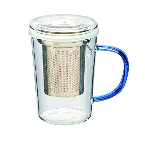casaWare 18-Ounce Borosilicate Glass Tea Infuser Mug with Lid Blue Handle