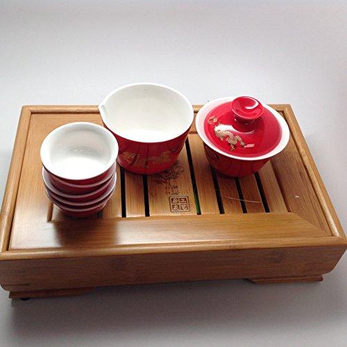 Gaiwan Tea Setred Dragon with Small Tea Tray