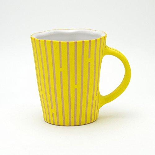 Hagi yaki Japanese ceramic Deisai mug cup yellow made by Tairei Tokimatsu