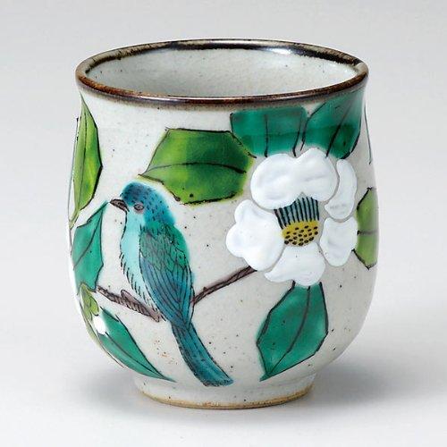 Japanese Yunomi Tea Cup Camellia and Bird KUTANI YAKIware