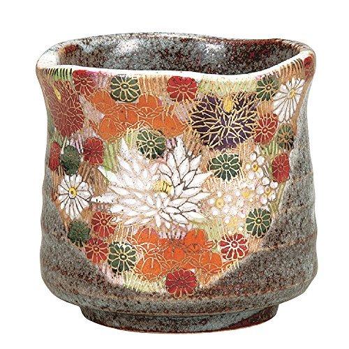 Japanese Yunomi Tea Cup Gold Flower KUTANI YAKIware