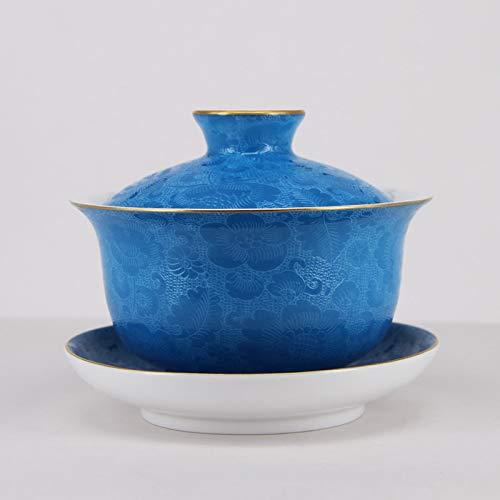 Chinese Jingdezhen Handmade Pa Hua Famille-rose Porcelain Gaiwan Tea Cup 160cc
