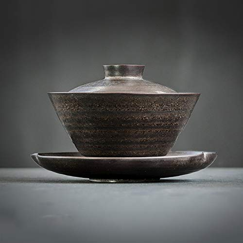 DehuaYao Chinese Traditional Ceramic Gaiwan Porcelain Cup(Tea Cup Comprised of Cup Saucer and Lid ) with saucer