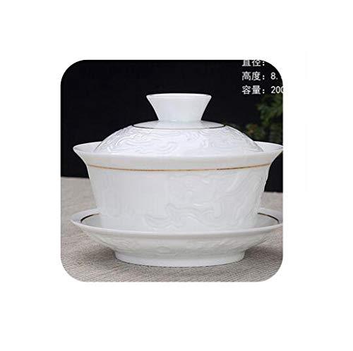 Hand Painted Ink lotus Ceramic Porcelain Gaiwan Chinese Kung Fu Tea Set Handmade Teaware Tureen Sancai Tea Cup Puer Kettle200ml4