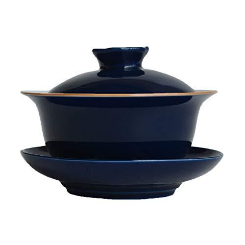 Porcelain Gaiwan 67oz Teacup White Glazed Tureen Chinese Sancai Cover Bowl Lip Saucer Set Blue