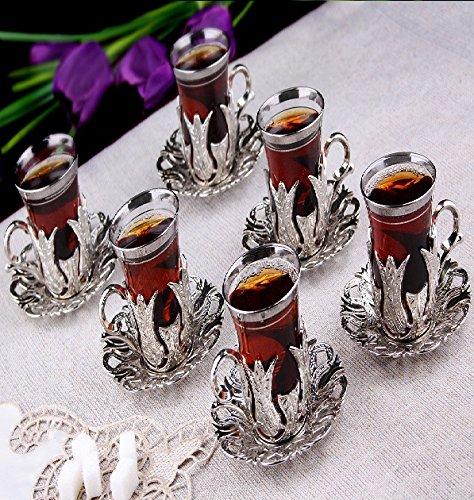 SET OF 6 Handmade Copper Turkish Tea Glasses Set 6 Tea Serving Cups Saucers - Silver