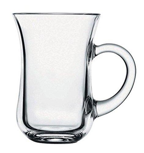 Keyif Model Turkish Tea Glasses with Handles - 6 Pieces