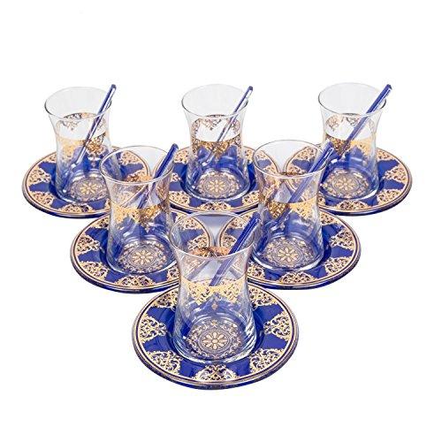 Ottoman Blue Special Series - Turkish Tea Glass Set Elegant Lace Blue 18 Piece  6 Glass  6 Saucers  6 Tea Spoon