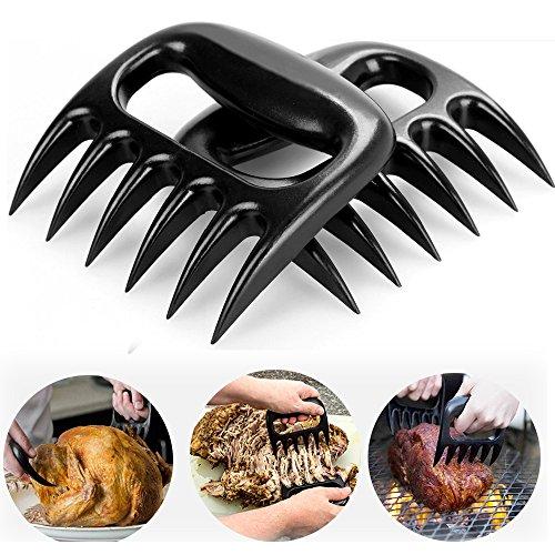 Meat claws Shredder Claws Pork Claws Shredder claws RUZINIU Grill Sense Food Safe Full Size  Essential for BBQ Pros Heat Resistant Dishwasher Safe Black- 2 PCS
