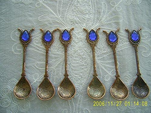 Handmade Turkish Ottoman Style Copper Teaspoons for Coffee Tea Sugar 6 pcs CopperBlue