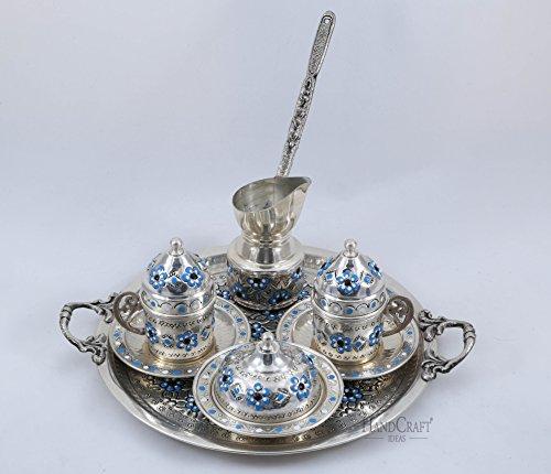 Traditional Design Handmade Copper Turkish Coffee Espresso Tea Set for Two Blue
