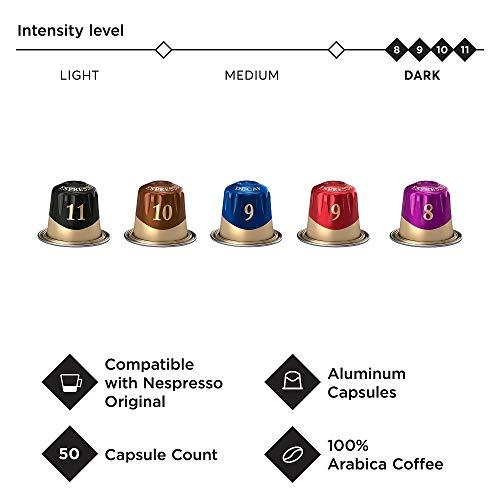 Peets Coffee Espresso Capsules Variety Pack 50 Count Single Cup Coffee Pods Compatible with Nespresso Original Brewers Crema Scura Decaffeinato Ristretto Nerissimo Ricchezza Ristretto