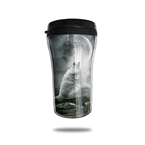 White Howling Wolf Coffee Mug Cool Personalized Tea Mug Custom Printed Insulated Mugs 250 ML Travel Mugs Unique Design Cups