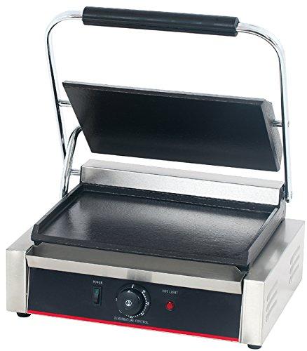 Hakka Commercial Professional Restaurant Grade Panini Press Grill and Sandwich Griddler Single Flat Grill TEG-811EB