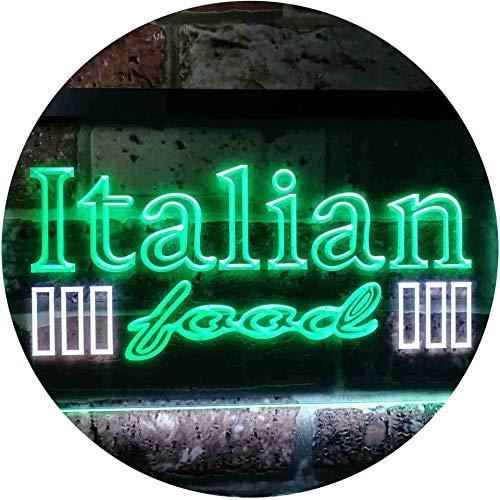 ADVPRO Italian Food Dual Color LED Neon Sign White Green 24 x 16 st6s64-i0114-wg