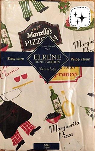 Elrene Pizzeria Chef Italian Food Theme Vinyl tablecloth Flannel Back 60 Round
