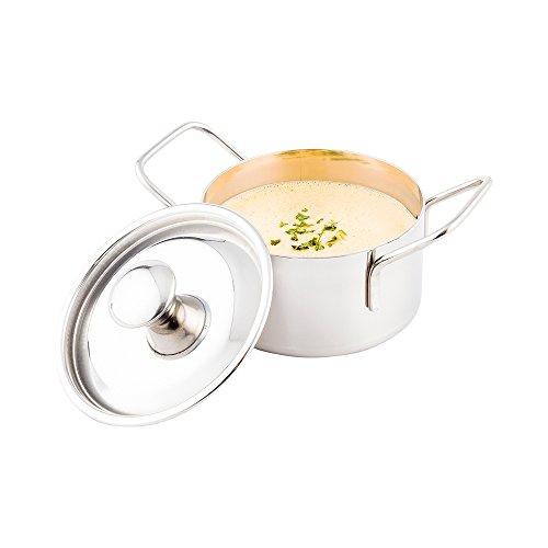 Mini Casserole Pot with Lid - Stainless Steel Casserole Pot - Double Handled - 575 x 3 - 1ct Box - Met Lux - Restaurantware