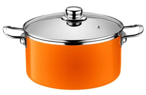 orange Pinti Monix Stainless Steel Casserole Dish Diameter 20 CM 325 Litres Mandarina Induction series