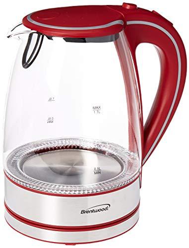 Brentwood Appliances KT-1900R Tempered Glass Tea Kettles 17-Liter Red