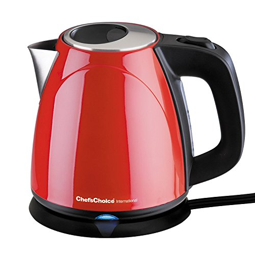 ChefsChoice 673 Cordless Compact Electric Kettle Features Boil Dry Protection Auto Shut Off Easy Pour 1-Liter Red