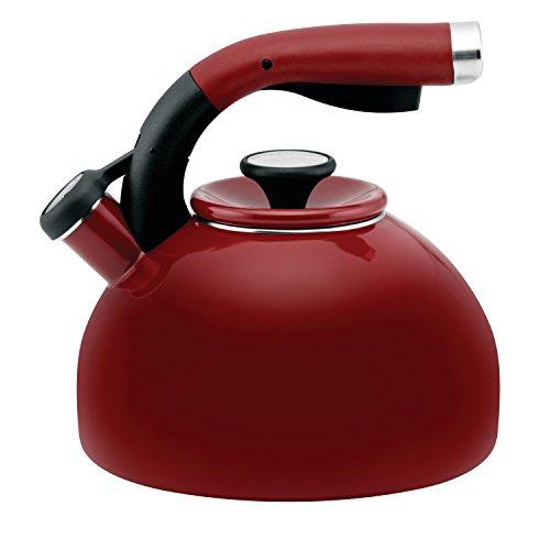 Circulon 56580 Morning Bird Whistling KettleStovetop TeakettleTea Pot 2 Quart Rhubarb Red