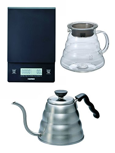 Hario V60 Series Set of Three Scale Glass Kettle Metal Kettle All Sold Together