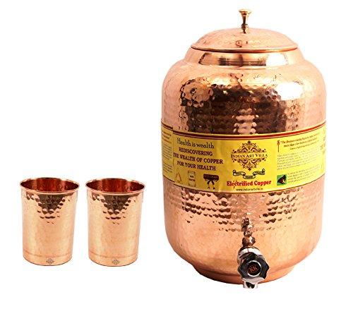 IndianArtVilla Handmade Pure Copper Water Pot Tank Matka 55 Liter 2 Flate H