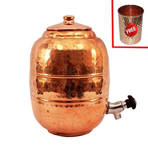 Rastogi HandicraftsHammered Pure Copper 65 ltr Water Pot Storage Tank - Tumble With Tap Kitchen Home Garden