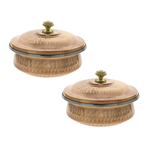 Avs Stores Serving Bowl Serving Dishes Set Copper and Steel Handi Tureen set of 2 51 inches
