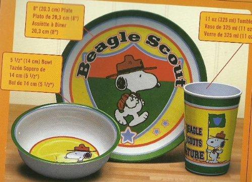 Peanuts Beagle Scout 3 Piece Kids Serving Dish Set