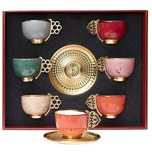 Alisveristime 12 Pc Turkish Greek Arabic Coffee Espresso Cup Saucer Porcelain Set Mixed Color