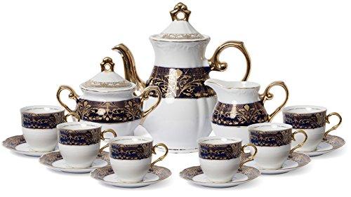 Euro Porcelain Premium 17-pc Dark Cobalt Blue Tea Cup Coffee Set 24K Gold-Plated Vintage Flower Pattern Complete Service for 6 Original Czech Tableware