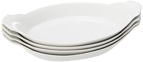 HIC Oval Au Gratin Baking Dishes Fine White Porcelain 10-Inch Set of 4