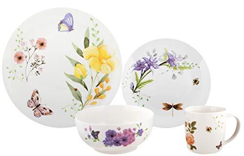 Melange 16-Piece Place Setting Premium Porcelain Dinnerware Set Butterfly Garden Collection  Service for 4  Microwave Dishwasher Oven Safe  Dinner Plate Salad Plate Soup Bowl Mug 4 Each