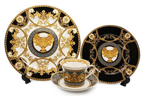 Royalty Porcelain 16-pc Dinner Set Greek Amphora Premium Bone China Black