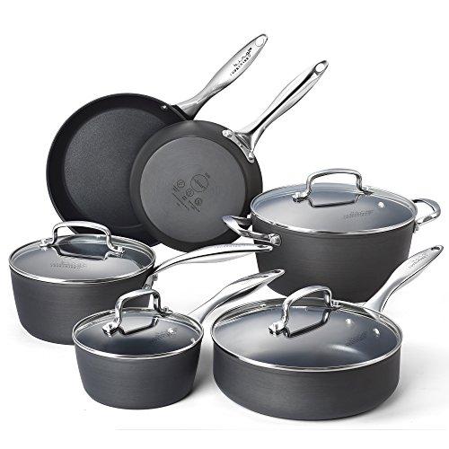 Cooksmark Kingbox 10-Piece Hard-Anodized Dishwasher Safe Nonstick Black Aluminum Cookware Set Oven Safe