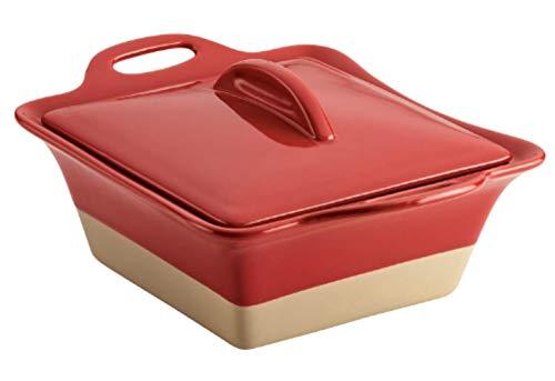47149 Glaze Ceramics DishCasserole Pan with Lid 25 Quart Cherry Pack of 2