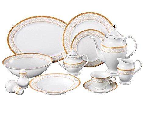 49-Piece Beige Gold Design Adds An Elegant Touch Venice Porcelain Dishwasher Safe Dinnerware Set