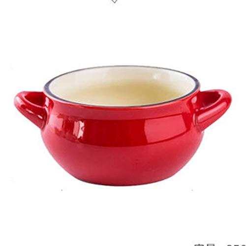 Anti-scalding Binaural Soup Bowl Red Casserole Bowl Home Baking Roasting Bowl Ceramic Bowl Rice Bowl Salad Bowl Instant Noodle Bowl Gift 58inch