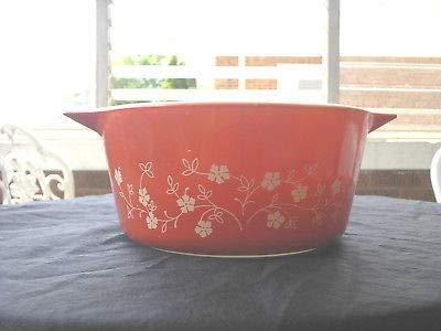 Pyrex Model 474-B 15 Quart Dark Orange and White Trailing Flowers Design Casserole Bowl No Lid