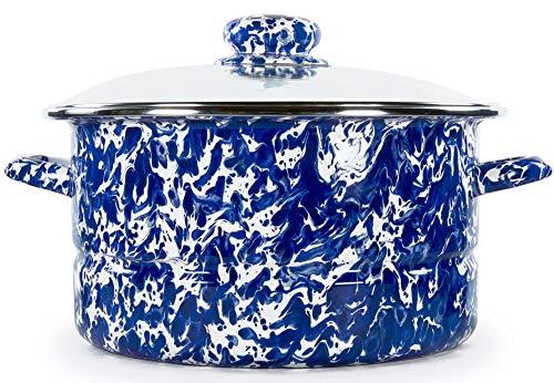 Golden Rabbit Enamelware - Cobalt Blue Swirl Pattern - 6 Quart Stock Pot